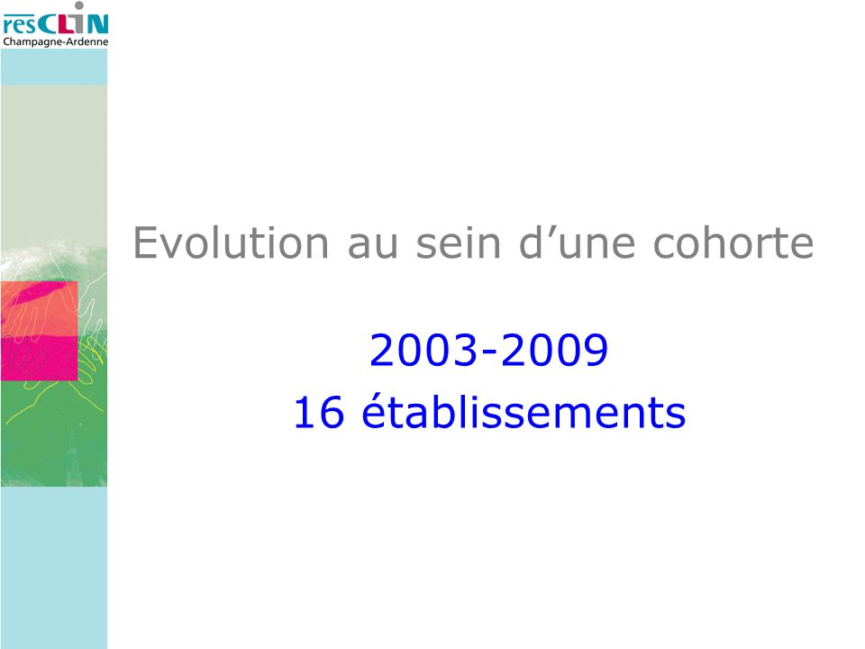 Evolution au sein dune cohorte 2003-2009 16 établissements