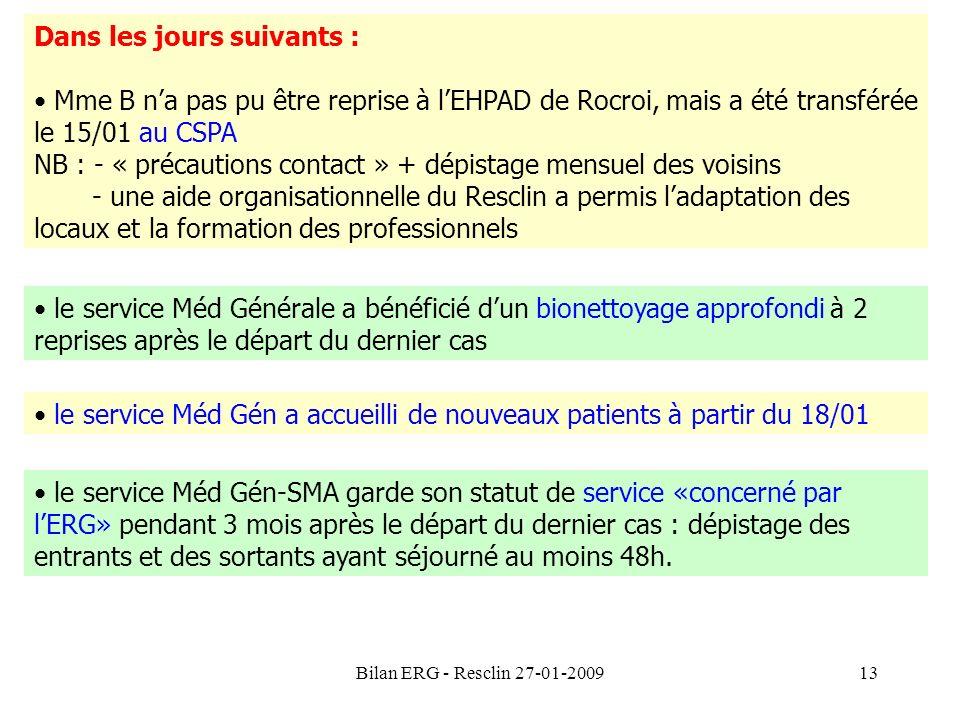 Bilan ERG - Resclin 27-01-200913 Dans les jours suivants : Mme B na pas pu être reprise à lEHPAD de Rocroi, mais a été transférée le 15/01 au CSPA NB