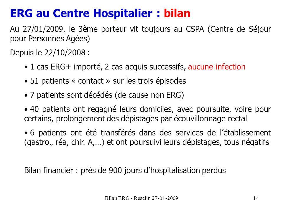 Bilan ERG - Resclin 27-01-200914 ERG au Centre Hospitalier : bilan Au 27/01/2009, le 3ème porteur vit toujours au CSPA (Centre de Séjour pour Personne