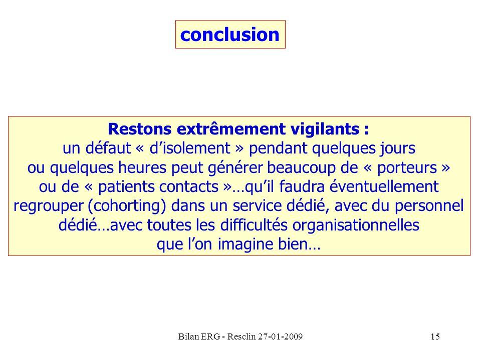 Bilan ERG - Resclin 27-01-200915 conclusion Restons extrêmement vigilants : un défaut « disolement » pendant quelques jours ou quelques heures peut gé