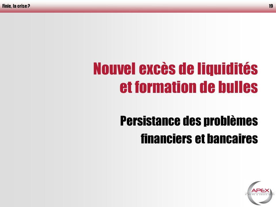 Finie, la crise 19 Nouvel excès de liquidités et formation de bulles Persistance des problèmes financiers et bancaires