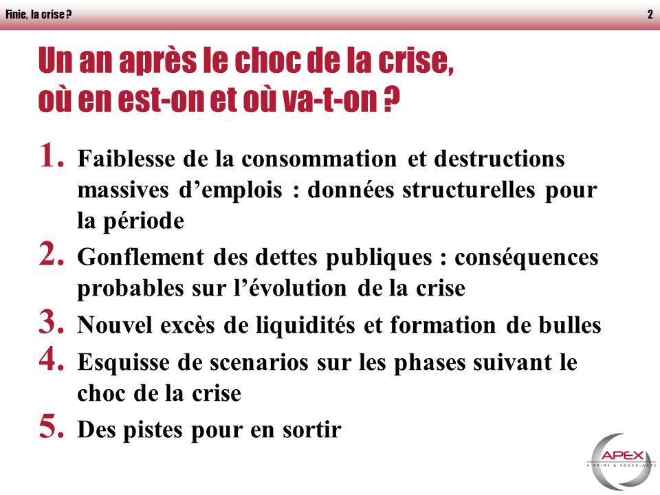 Finie, la crise 2 Un an après le choc de la crise, où en est-on et où va-t-on .