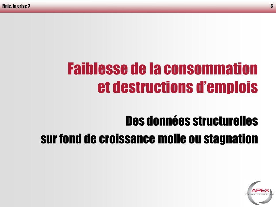 Finie, la crise 3 Faiblesse de la consommation et destructions demplois Des données structurelles sur fond de croissance molle ou stagnation