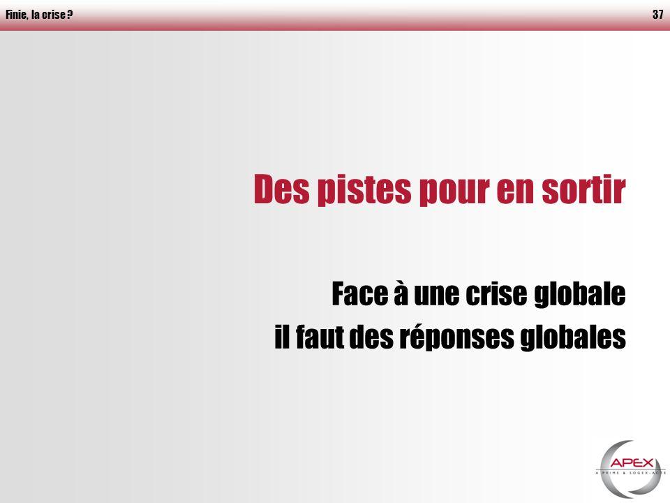 Finie, la crise 37 Des pistes pour en sortir Face à une crise globale il faut des réponses globales