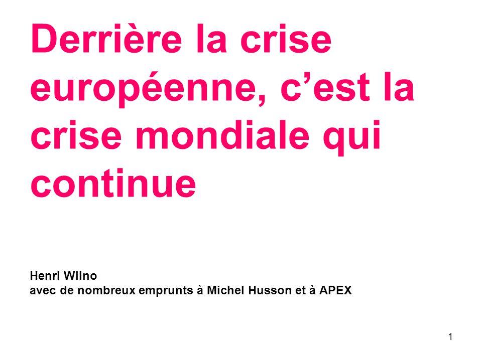 1 Derrière la crise européenne, cest la crise mondiale qui continue Henri Wilno avec de nombreux emprunts à Michel Husson et à APEX