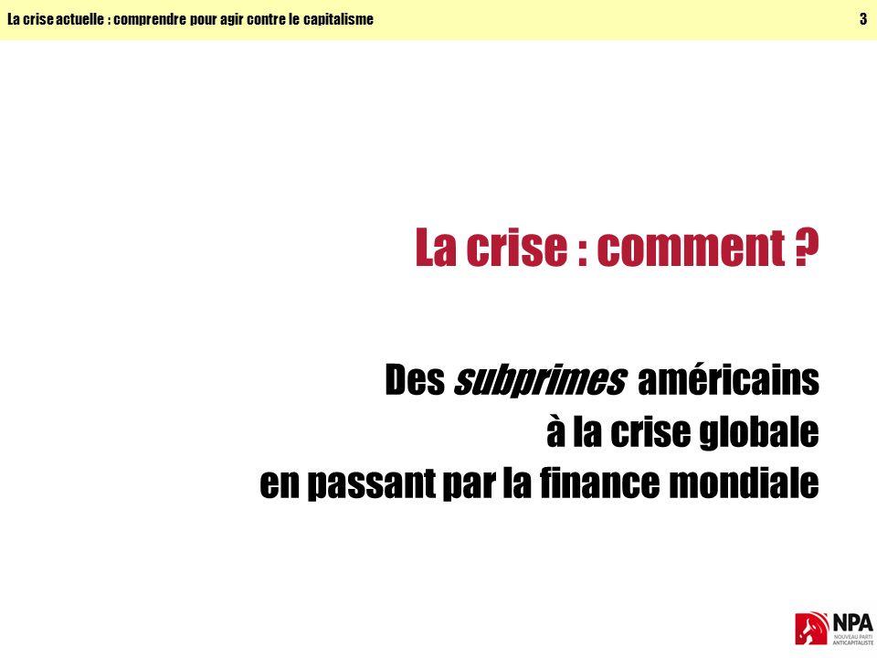 La crise actuelle : comprendre pour agir contre le capitalisme3 La crise : comment .