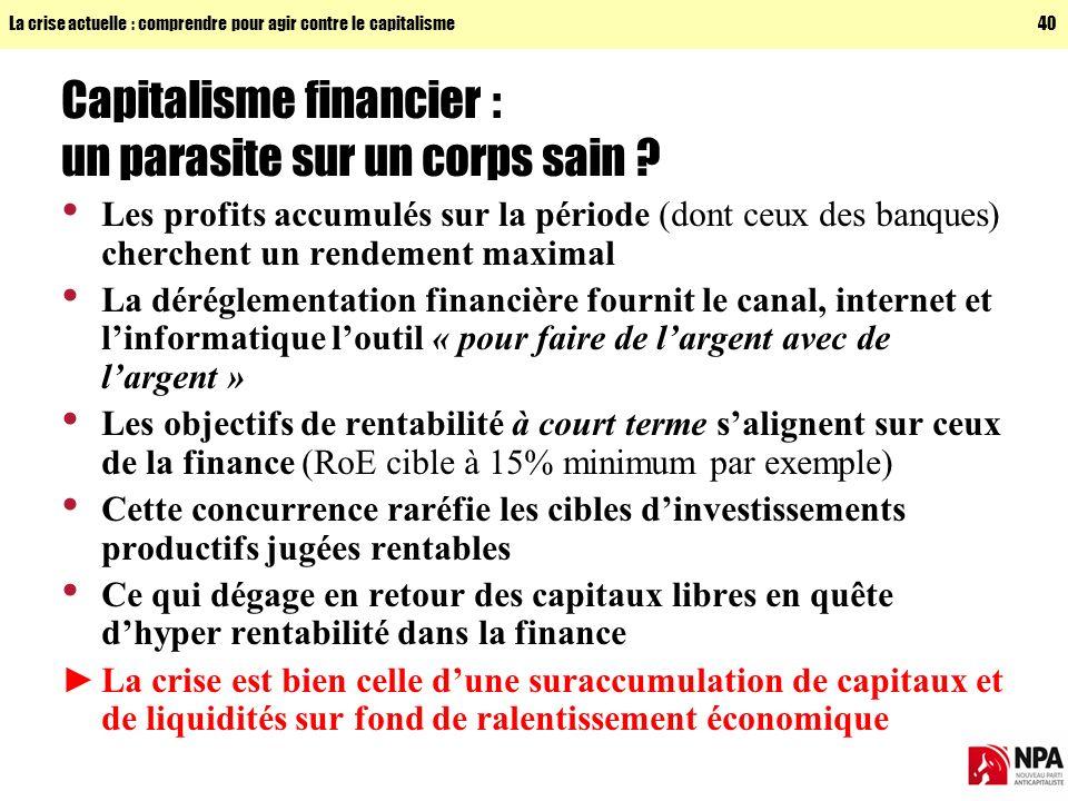La crise actuelle : comprendre pour agir contre le capitalisme40 Capitalisme financier : un parasite sur un corps sain .