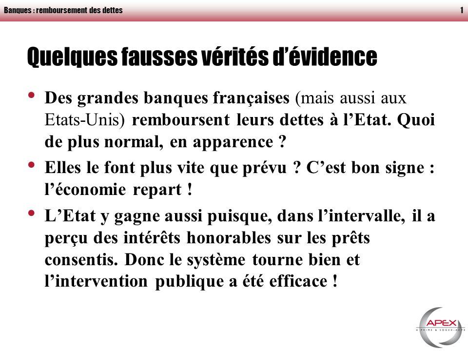 Banques : remboursement des dettes1 Quelques fausses vérités dévidence Des grandes banques françaises (mais aussi aux Etats-Unis) remboursent leurs dettes à lEtat.