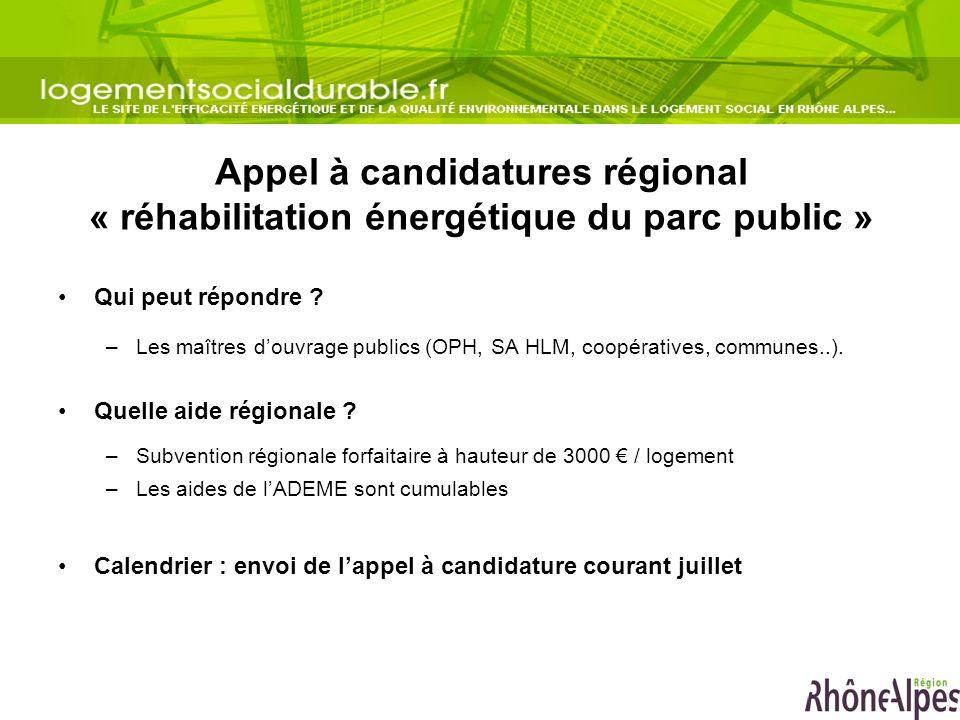 Appel à candidatures régional « réhabilitation énergétique du parc public » Qui peut répondre ? –Les maîtres douvrage publics (OPH, SA HLM, coopérativ