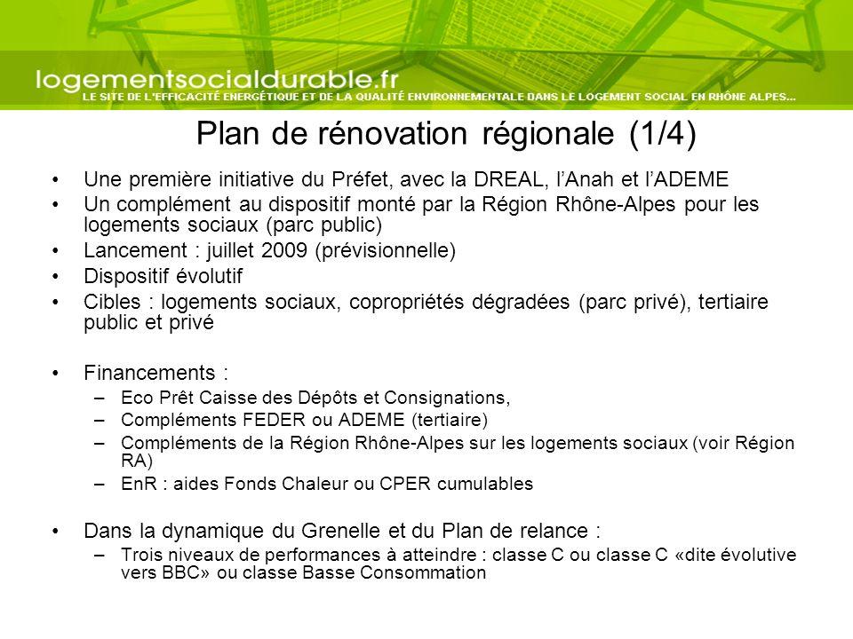 Plan de rénovation régionale (1/4) Une première initiative du Préfet, avec la DREAL, lAnah et lADEME Un complément au dispositif monté par la Région R