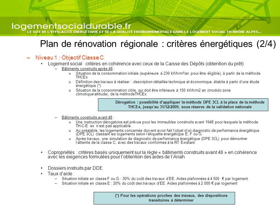 Plan de rénovation régionale : critères énergétiques (2/4) –Niveau 1 : Objectif Classe C Logement social : critères en cohérence avec ceux de la Caiss