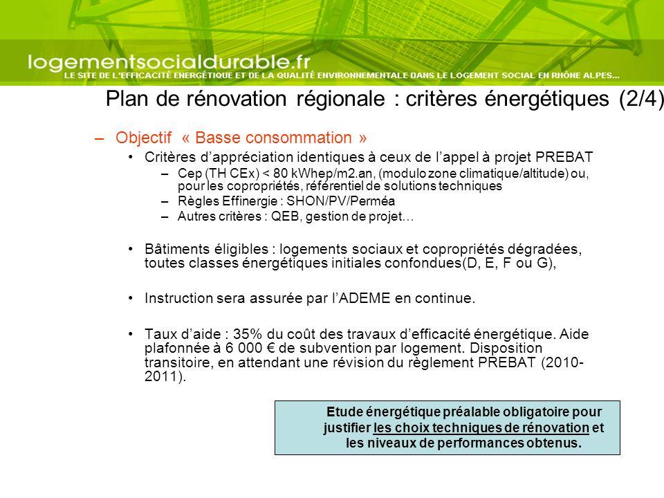 Plan de rénovation régionale : critères énergétiques (2/4) –Objectif « Basse consommation » Critères dappréciation identiques à ceux de lappel à proje