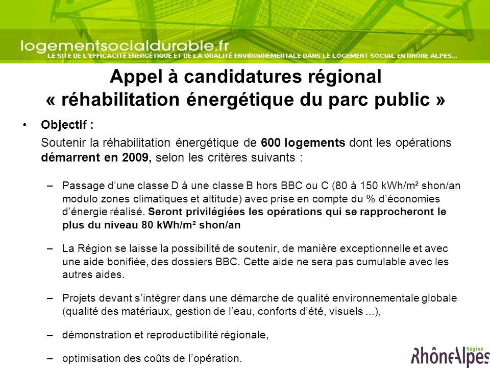 Appel à candidatures régional « réhabilitation énergétique du parc public » Objectif : Soutenir la réhabilitation énergétique de 600 logements dont le