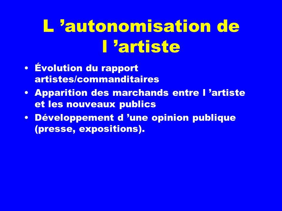 L autonomisation de l artiste Évolution du rapport artistes/commanditaires Apparition des marchands entre l artiste et les nouveaux publics Développement d une opinion publique (presse, expositions).