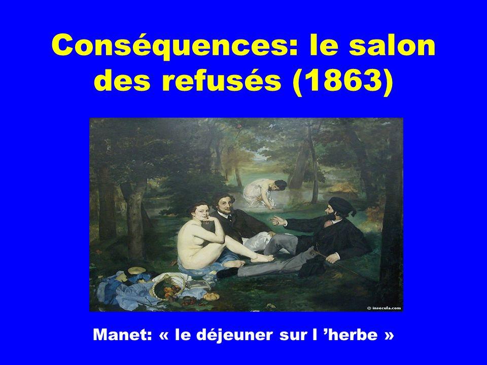Conséquences: le salon des refusés (1863) Manet: « le déjeuner sur l herbe »