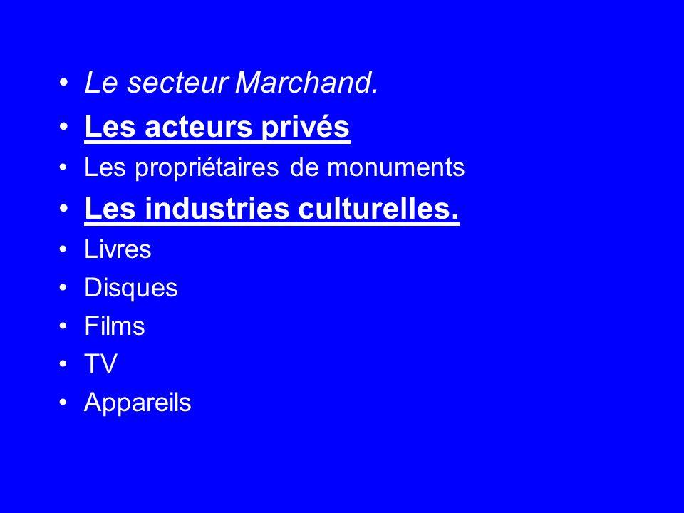 Le secteur Marchand. Les acteurs privés Les propriétaires de monuments Les industries culturelles.