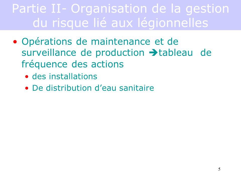 5 Partie II- Organisation de la gestion du risque lié aux légionnelles Opérations de maintenance et de surveillance de production tableau de fréquence des actions des installations De distribution deau sanitaire