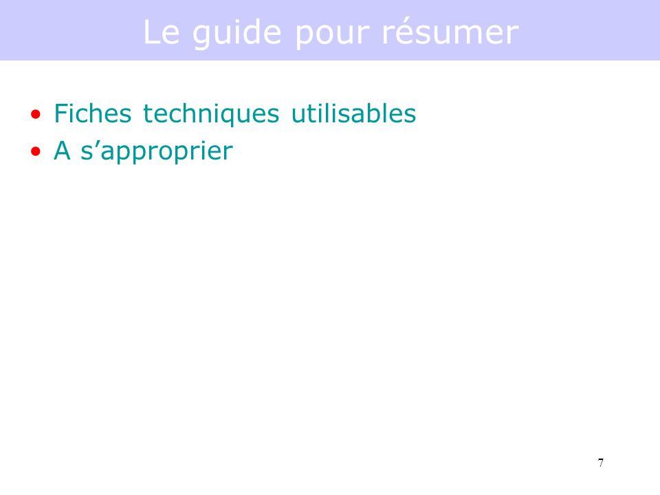 7 Le guide pour résumer Fiches techniques utilisables A sapproprier