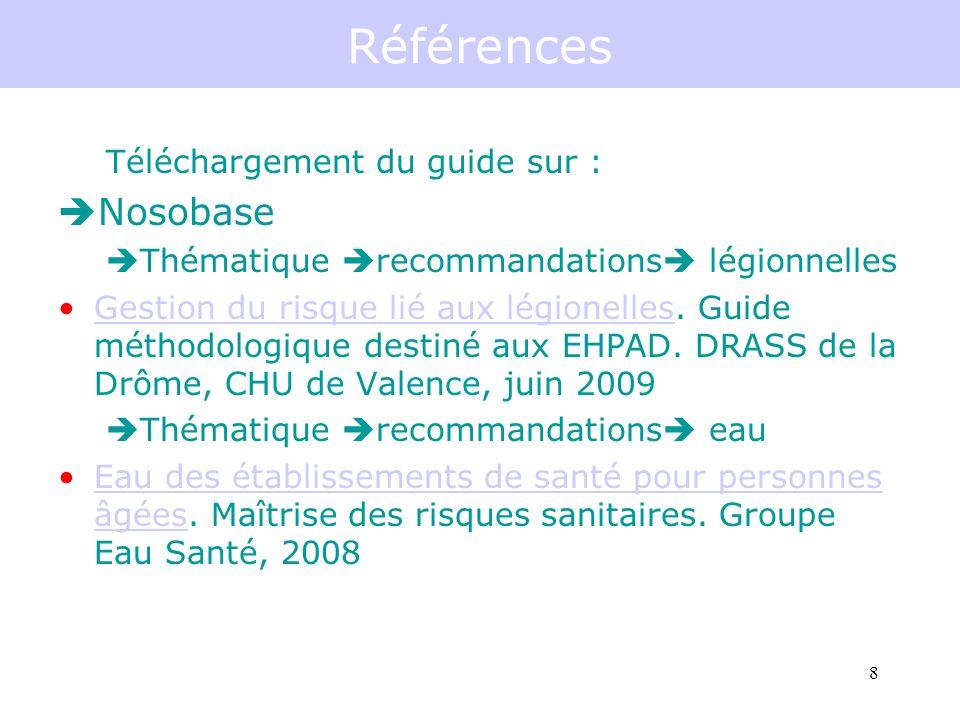 8 Références Téléchargement du guide sur : Nosobase Thématique recommandations légionnelles Gestion du risque lié aux légionelles.