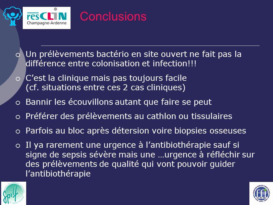 Un prélèvements bactério en site ouvert ne fait pas la différence entre colonisation et infection!!.
