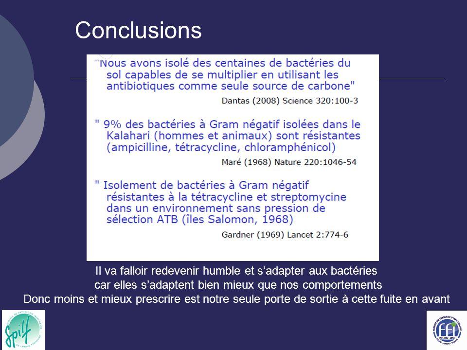 Conclusions Il va falloir redevenir humble et sadapter aux bactéries car elles sadaptent bien mieux que nos comportements Donc moins et mieux prescrire est notre seule porte de sortie à cette fuite en avant