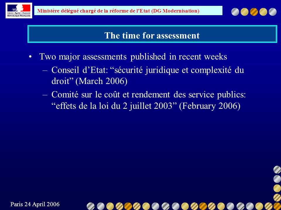 Ministère délégué chargé de la réforme de lEtat (DG Modernisation) Paris 24 April 2006 The time for assessment Two major assessments published in rece