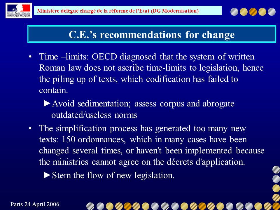 Ministère délégué chargé de la réforme de lEtat (DG Modernisation) Paris 24 April 2006 C.E.s recommendations for change Time –limits: OECD diagnosed that the system of written Roman law does not ascribe time-limits to legislation, hence the piling up of texts, which codification has failed to contain.