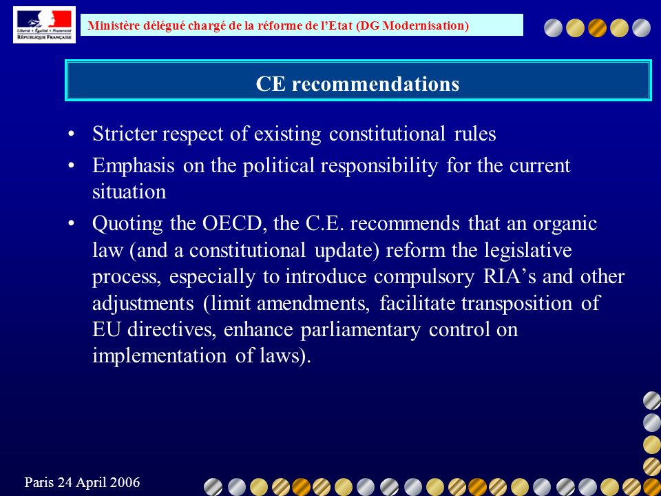 Ministère délégué chargé de la réforme de lEtat (DG Modernisation) Paris 24 April 2006 CE recommendations Stricter respect of existing constitutional
