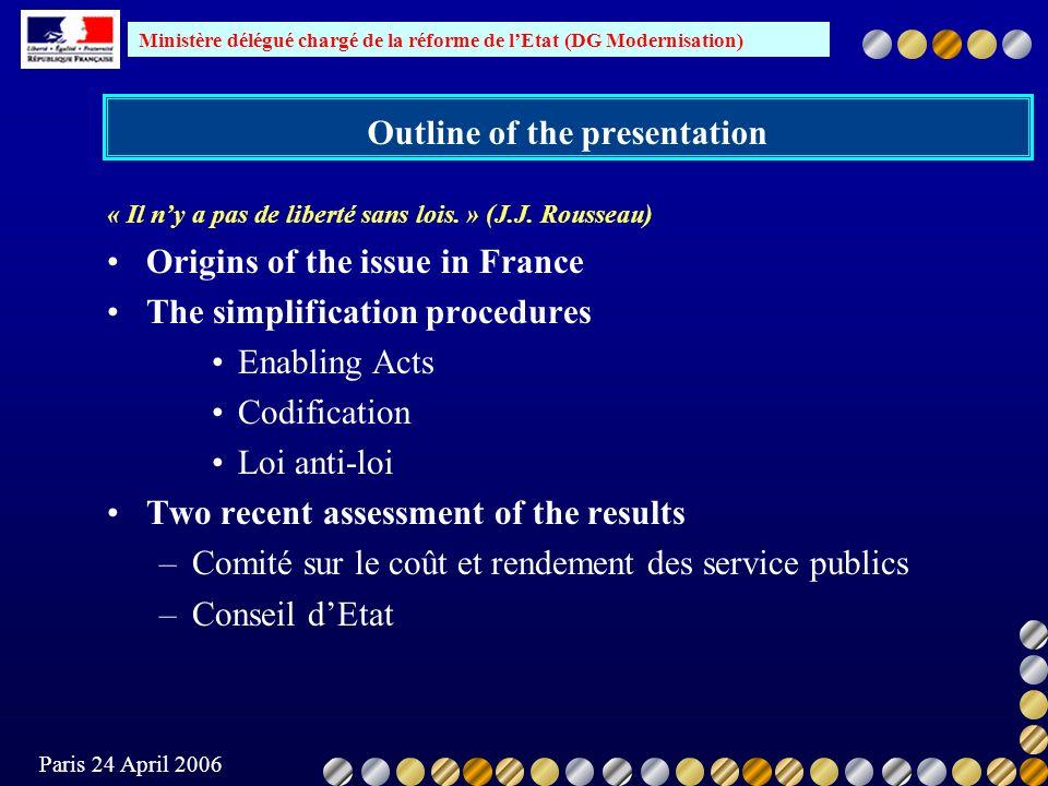 Ministère délégué chargé de la réforme de lEtat (DG Modernisation) Paris 24 April 2006 CE recommendations Stricter respect of existing constitutional rules Emphasis on the political responsibility for the current situation Quoting the OECD, the C.E.