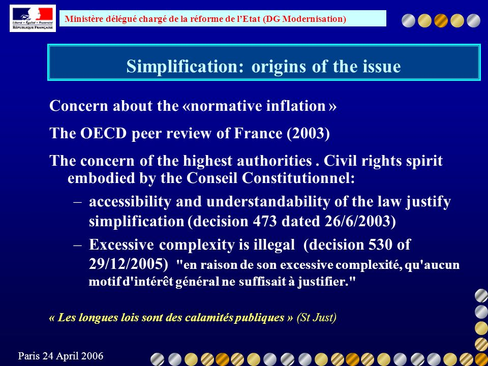 Ministère délégué chargé de la réforme de lEtat (DG Modernisation) Paris 24 April 2006 Concern about the «normative inflation » The OECD peer review of France (2003) The concern of the highest authorities.