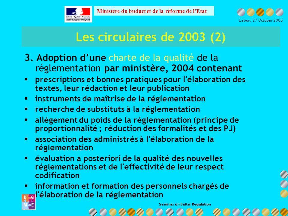 Seminar on Better Regulation Ministère du budget et de la réforme de lEtat Lisbon, 27 October 2006 Les circulaires de 2003 (3) 4.