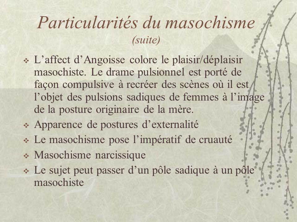 Particularités du masochisme (suite) Laffect dAngoisse colore le plaisir/déplaisir masochiste. Le drame pulsionnel est porté de façon compulsive à rec