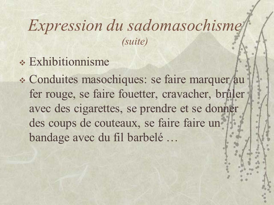 Expression du sadomasochisme (suite) Exhibitionnisme Conduites masochiques: se faire marquer au fer rouge, se faire fouetter, cravacher, brûler avec d