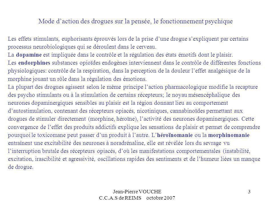 Jean-Pierre VOUCHE C.C.A.S de REIMS octobre 2007 3 Mode daction des drogues sur la pensée, le fonctionnement psychique Les effets stimulants, euphoris