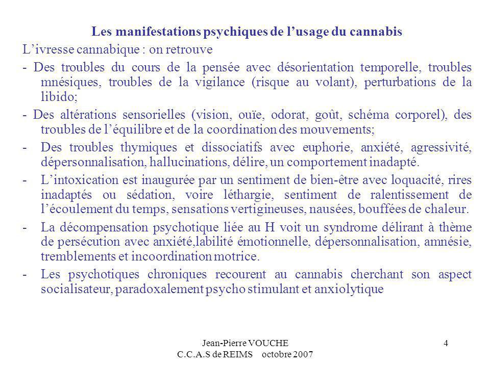 Jean-Pierre VOUCHE C.C.A.S de REIMS octobre 2007 4 Les manifestations psychiques de lusage du cannabis Livresse cannabique : on retrouve - Des trouble