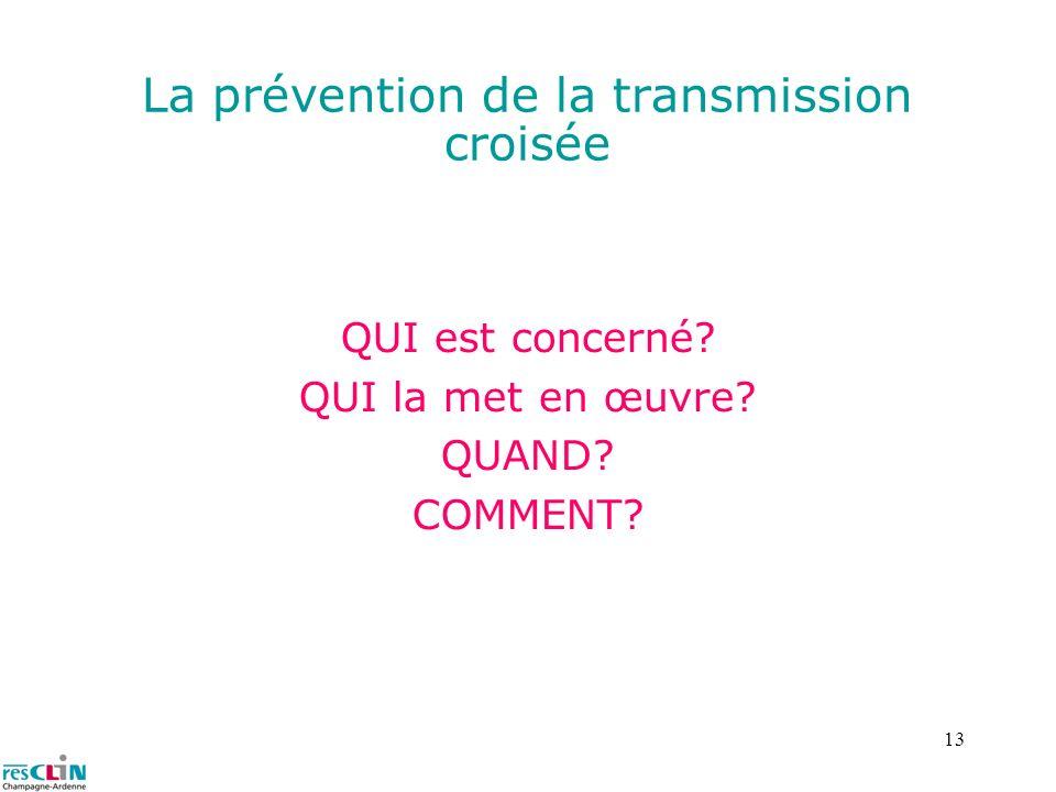 13 La prévention de la transmission croisée QUI est concerné? QUI la met en œuvre? QUAND? COMMENT?