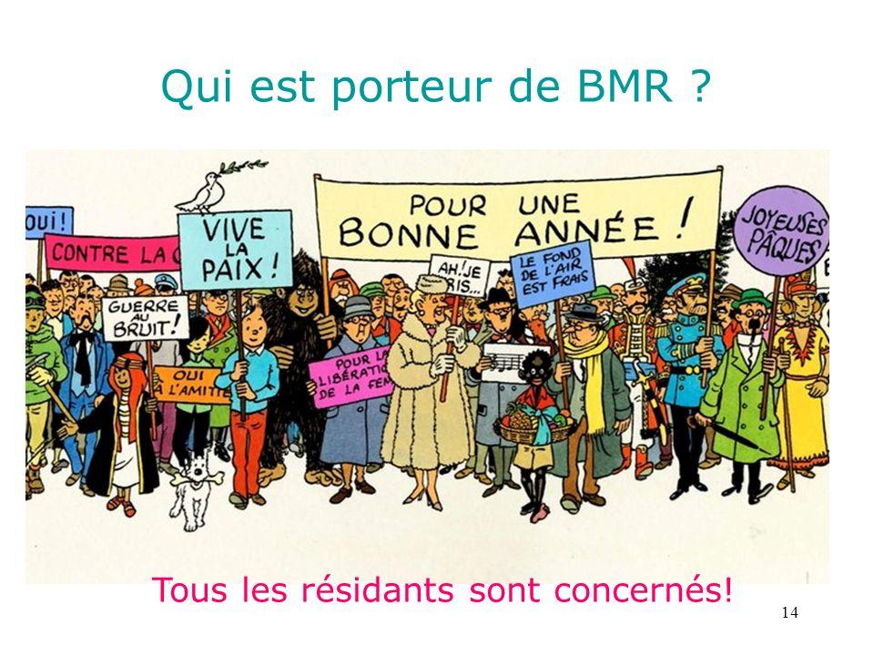 14 Qui est porteur de BMR ? Tous les résidants sont concernés!