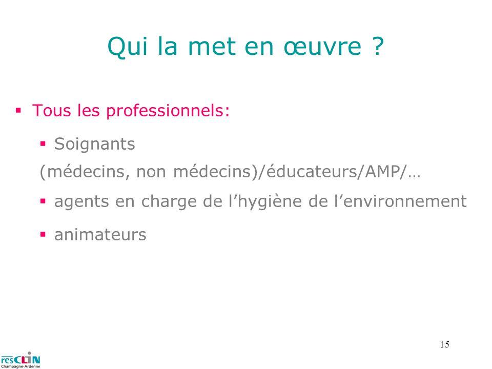15 Qui la met en œuvre ? Tous les professionnels: Soignants (médecins, non médecins)/éducateurs/AMP/… agents en charge de lhygiène de lenvironnement a