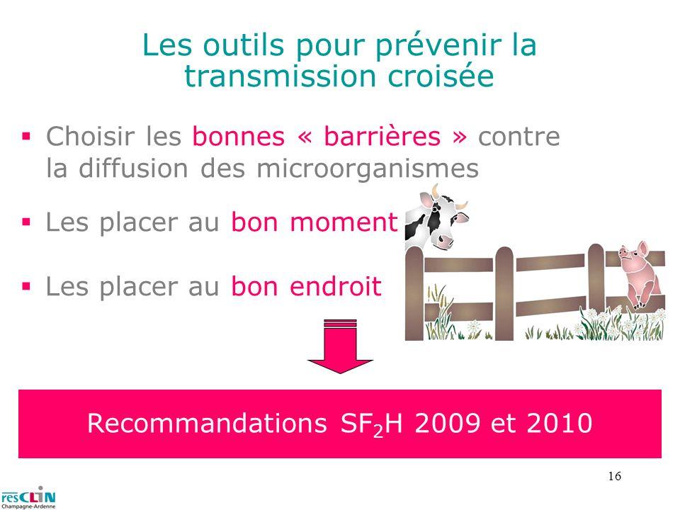 16 Les outils pour prévenir la transmission croisée Choisir les bonnes « barrières » contre la diffusion des microorganismes Recommandations SF 2 H 20