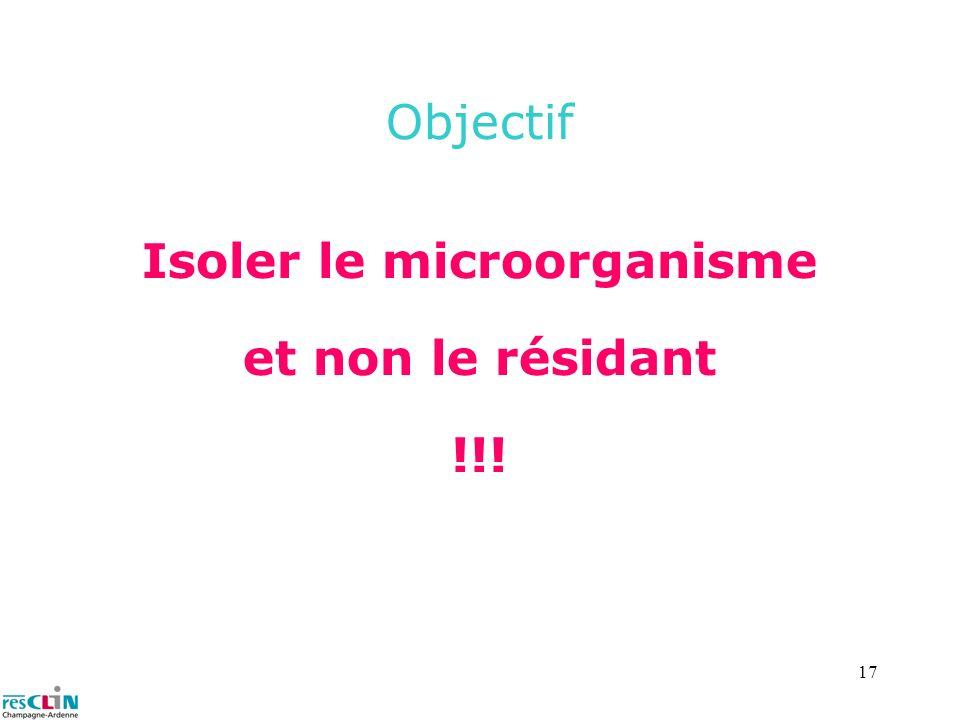 17 Objectif Isoler le microorganisme et non le résidant !!!