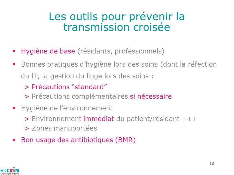 18 Les outils pour prévenir la transmission croisée Hygiène de base (résidants, professionnels) Bonnes pratiques dhygiène lors des soins (dont la réfe