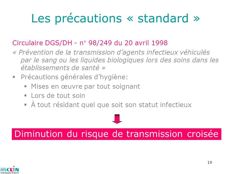19 Les précautions « standard » Circulaire DGS/DH - n° 98/249 du 20 avril 1998 « Prévention de la transmission dagents infectieux véhiculés par le san