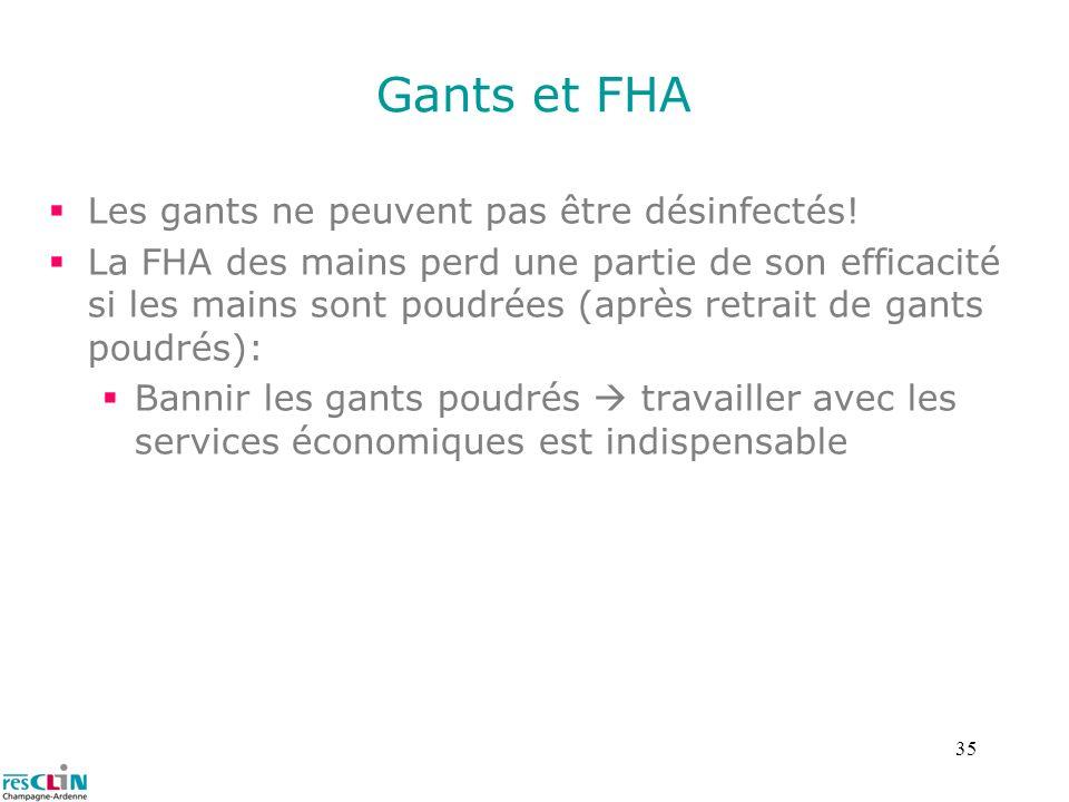 35 Gants et FHA Les gants ne peuvent pas être désinfectés! La FHA des mains perd une partie de son efficacité si les mains sont poudrées (après retrai