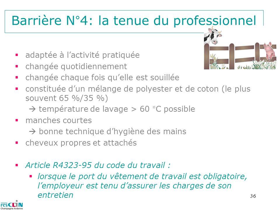 36 Barrière N°4: la tenue du professionnel adaptée à lactivité pratiquée changée quotidiennement changée chaque fois quelle est souillée constituée du
