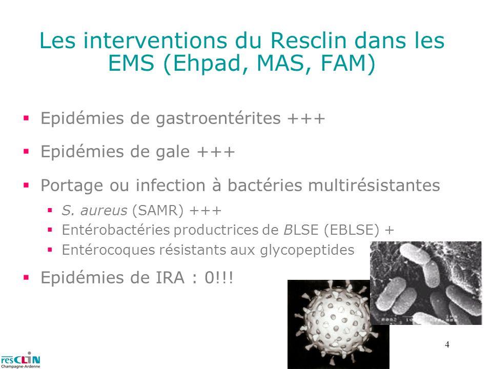 4 Les interventions du Resclin dans les EMS (Ehpad, MAS, FAM) Epidémies de gastroentérites +++ Epidémies de gale +++ Portage ou infection à bactéries