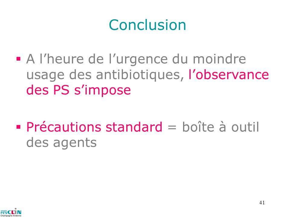 41 Conclusion A lheure de lurgence du moindre usage des antibiotiques, lobservance des PS simpose Précautions standard = boîte à outil des agents