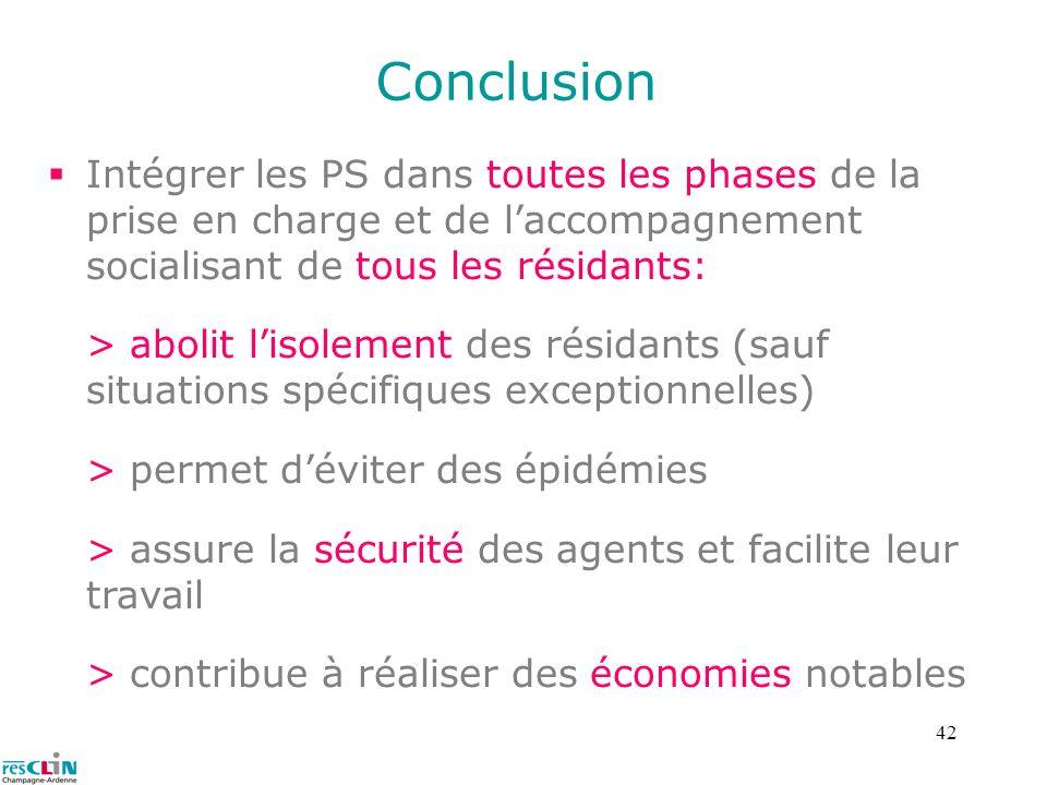 42 Conclusion Intégrer les PS dans toutes les phases de la prise en charge et de laccompagnement socialisant de tous les résidants: > abolit lisolemen