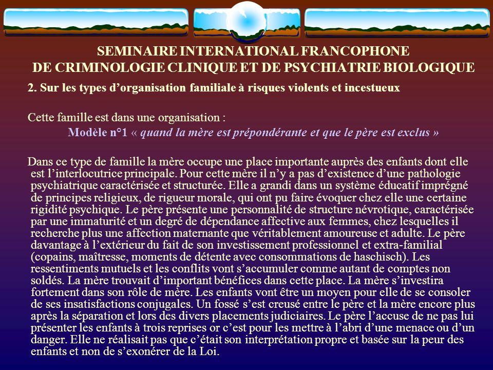 SEMINAIRE INTERNATIONAL FRANCOPHONE DE CRIMINOLOGIE CLINIQUE ET DE PSYCHIATRIE BIOLOGIQUE 2. Sur les types dorganisation familiale à risques violents