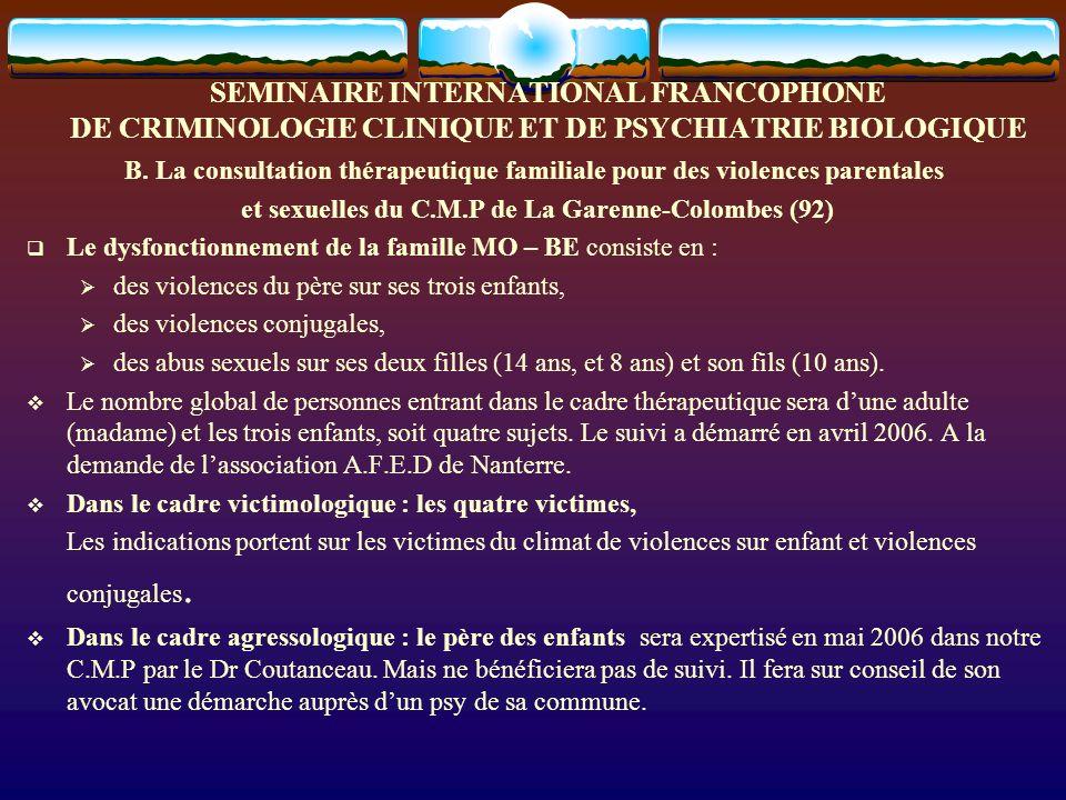 SEMINAIRE INTERNATIONAL FRANCOPHONE DE CRIMINOLOGIE CLINIQUE ET DE PSYCHIATRIE BIOLOGIQUE B. La consultation thérapeutique familiale pour des violence