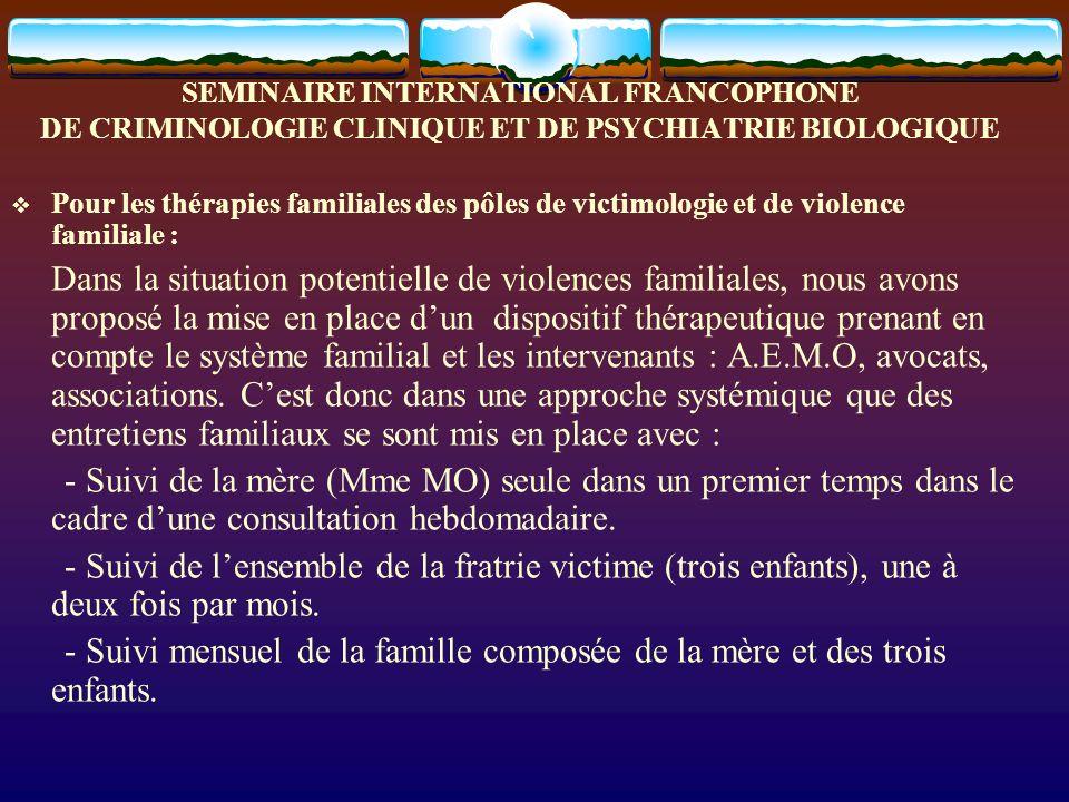 SEMINAIRE INTERNATIONAL FRANCOPHONE DE CRIMINOLOGIE CLINIQUE ET DE PSYCHIATRIE BIOLOGIQUE Pour les thérapies familiales des pôles de victimologie et d